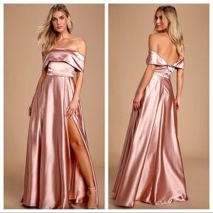 Lulu's The Greatest Hits Blush Off Shoulder Dress